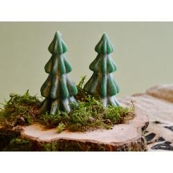 Waldgrüne Tannenkerze groß